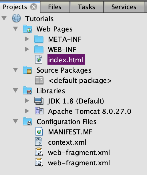 NetBeans Information for Servlets